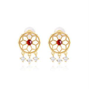 Tassel Boho Garnet/Turquoise Stud Earrings Silver